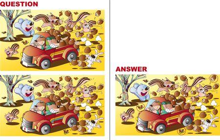 Mistaken Quiz, Squirrel Carrying Acorn Ilustração