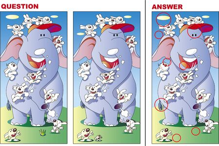 Search for mistakes quiz, rabbit and elephant are good friends