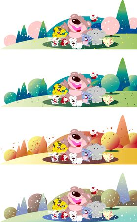 Four seasons of cute animals