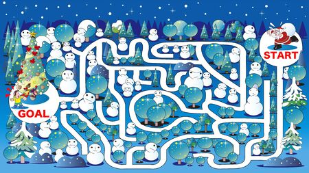 Maze, Christmas tree and illumination  イラスト・ベクター素材