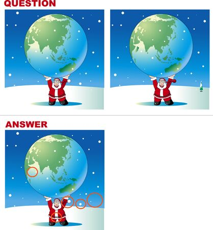 Mistake quiz, Santa's big present  イラスト・ベクター素材