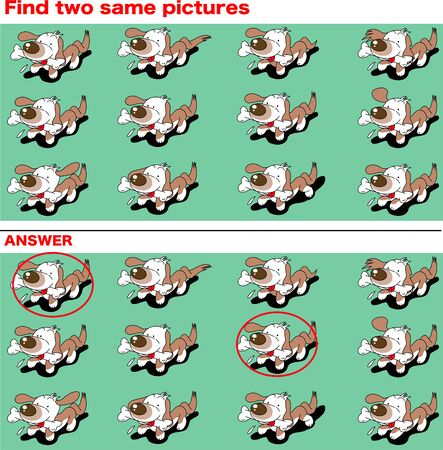 Divertido pequeño perro salchicha, encuentra dos imágenes iguales
