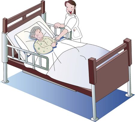 Elderly and caregiver in nursing bed  イラスト・ベクター素材
