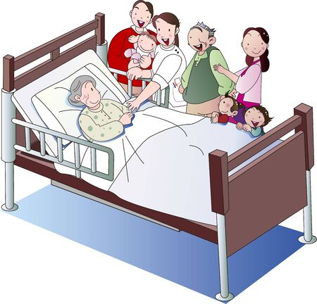 Elderly caregiver and family in care bed