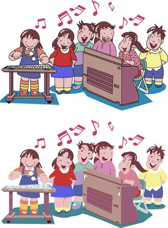 Children singing in a music class 矢量图像