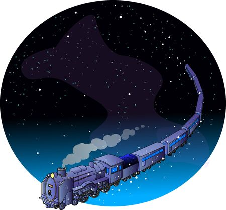 Space background with galaxy train