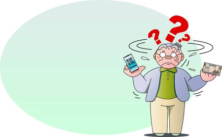 Elderly man suffering from cashless payment on smartphone  イラスト・ベクター素材
