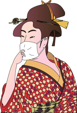 Japanese style old beautiful woman masking