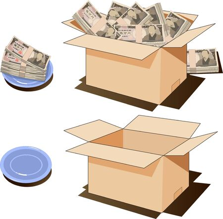 Cardboard box with a stack of bills