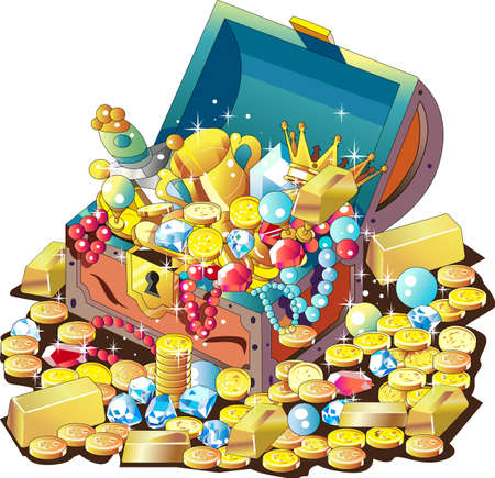 Treasure chest full of gold coins and jewels