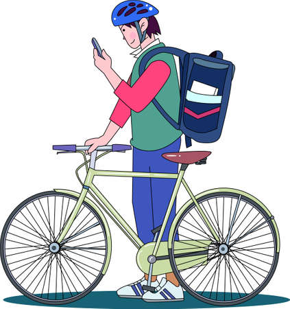 Part-time job delivering meals by bicycle 矢量图像