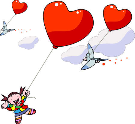 Girl flying in the sky with a red balloon