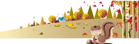 Squirrels collect acorns in the autumn forest