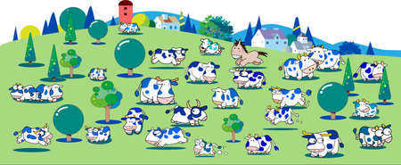 There is a lot of cows in a big ranch 일러스트