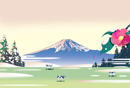 Ranch cows and Mt. Fuji in the morning sun