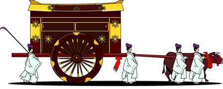 A traditional ox cart for old Japanese aristocrats 일러스트