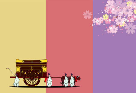 Ox cart and cherry blossom New Year's card template