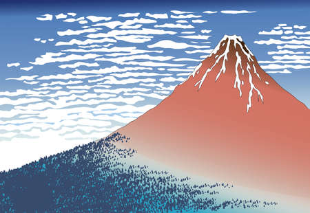 Red Mt.Fuji Ukiyo-e, 36 views of Mt. Fuji