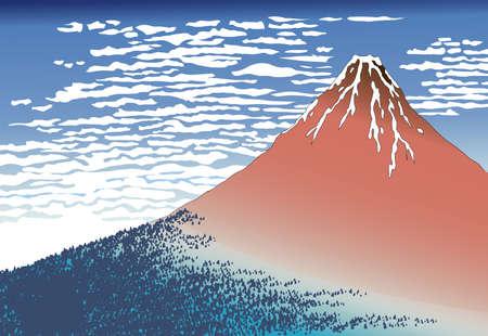 Red Mt.Fuji Ukiyo-e, 36 views of Mt. Fuji