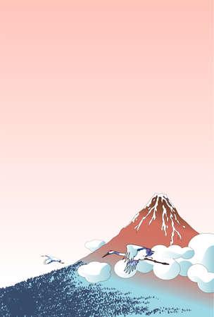 Ukiyo-e of crane and red Mt. Fuji