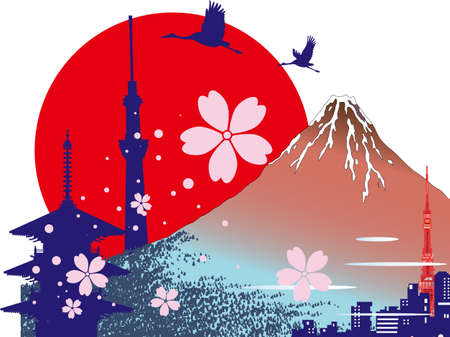 Landmarks such as Mt. Fuji, cherry blossoms and temples for sightseeing in Japan