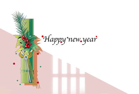 New Year's card template, New Year's gate decoration 스톡 콘텐츠