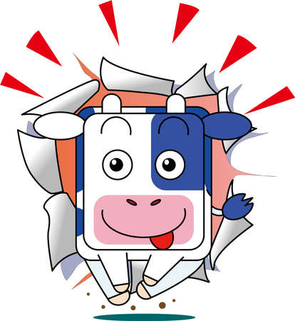 Illustration of New Year's card material, rushing cow
