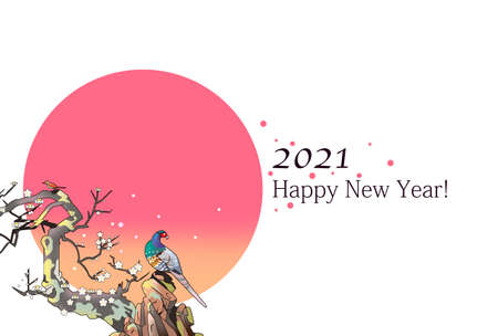 New Year template, Japanese birds and plums and sunrise 스톡 콘텐츠