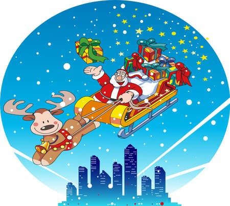 Santa Claus on a sleigh and an urban Christmas night