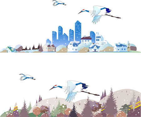 Winter cityscape, countryside and wild birds 스톡 콘텐츠