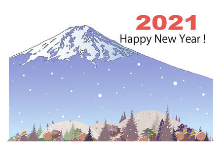 New Year's card template, snowy Mt. Fuji and Satomura
