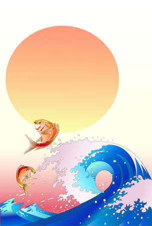 New Year's greetings illustrations _ snapper and wave and sunrise Imagens - 158651520