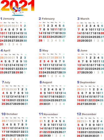 English version of the 2021 calendar 일러스트