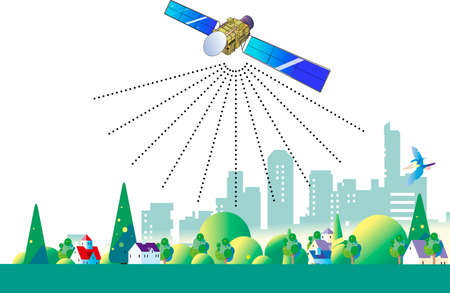 Urban and residential area with communication satellite network