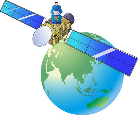A businessman working on a network of communication satellite Internet 일러스트