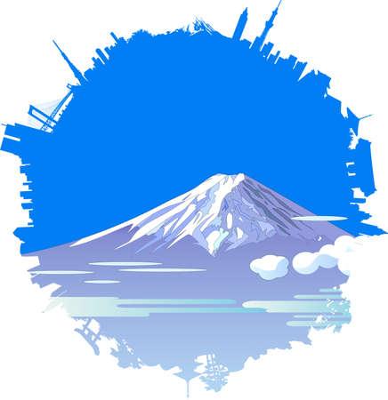 Japanese Landmarks Background Images for New Year Illustration