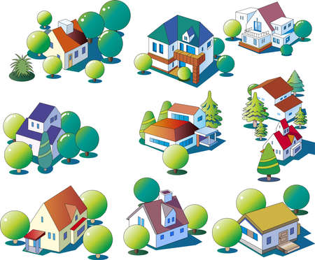Clip art of various single-family houses