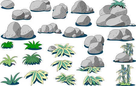A collection of rock and grass cuts Illustration