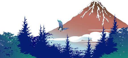 Forest with a view of Red Fuji Ilustração