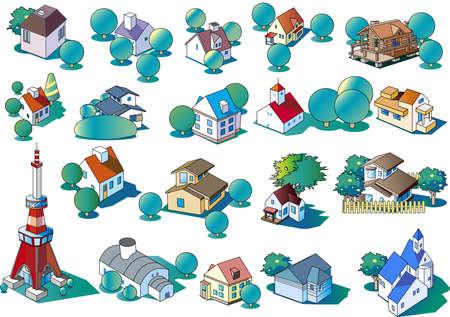 Clip art of various single-family houses