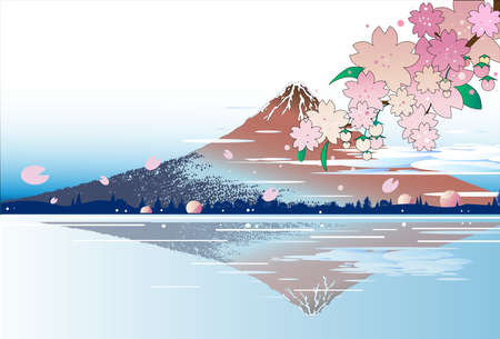 Red Fuji and Cherry Blossoms in Full Bloom in Spring
