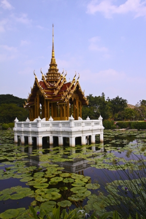 Classical pavilion around pool in Suanluang rama9 of Bangkok, Thailand. photo