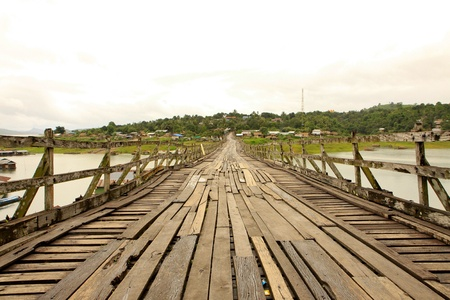 sangkhla buri: Longest Mon bridge in Sangkhlaburi Stock Photo