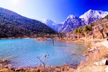 Blue river in Lijinag with snow mountain background, China photo