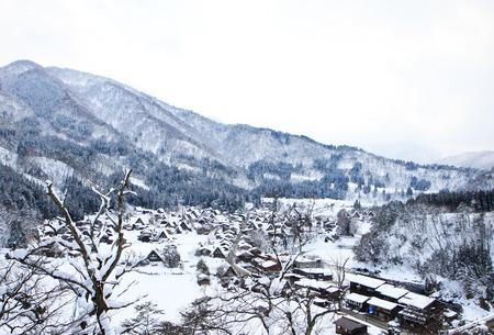 shirakawago: Top view of Shirakawago in Winter
