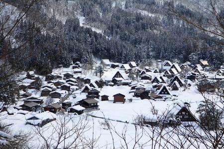 shirakawago: Famous view point in the winter of Shirakawago in Japan
