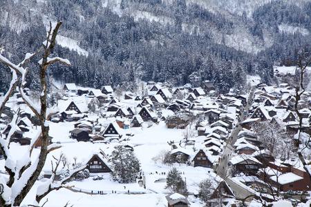 Top view of Shirakawago in the winter of Japan photo