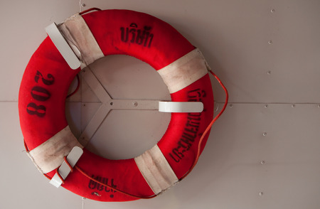 Life saving equipment in the boat of Thailand photo