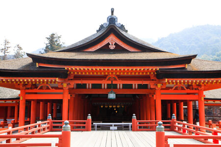 Wooden red shrine in Miyajima island