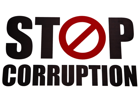 corruption: Stop corruption in white background Stock Photo